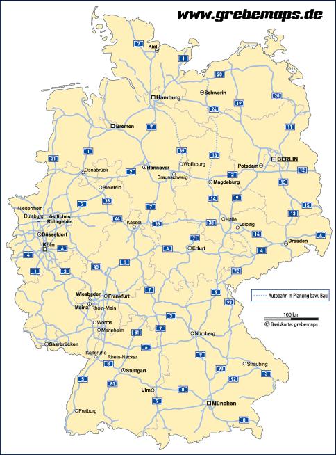 Deutschland Bundesländer Autobahnen Vektorkarte, Karte Deutschland Bundesländer Autobahnen Landeshauptstädte, Karte Vektor Deutschland, Deutschlandkarte Vektor Bundesländer