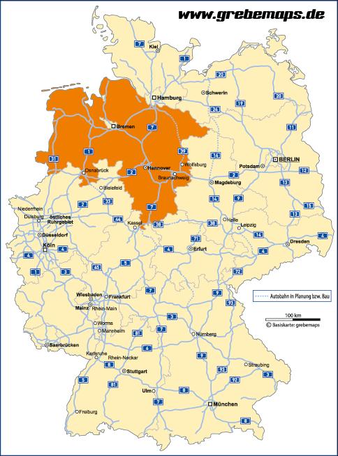 autobahnen karte Deutschland Bundesländer Autobahnen Vektorkarte   grebemaps