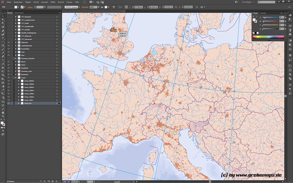 Europakarte Vektor mit Provinzen flächentreu, Karte Europa, Vektorkarte Europa, Karte Vektor Europa, flächentreue Europakarte, Vektorkarte Europa Illustrator, AI