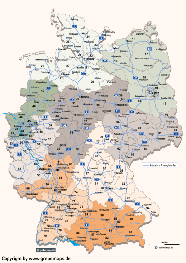 Deutschland Postleitzahlenkarte Vektor PLZ-2 mit Autobahnen, Vektorkarte PLZ-2 Deutschland, Karte Deutschland Postleitzahlen 2-stellig, Postleitzahlen Karte Deutschland 2-stellig