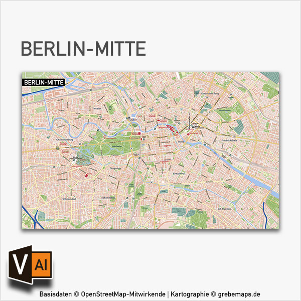 Berlin-Mitte Stadtplan Vektorkarte Mit Gebäuden