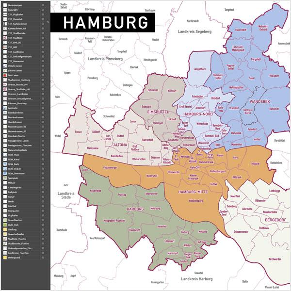 hamburg stadtplan vektor stadtbezirke stadtteile topographie. Black Bedroom Furniture Sets. Home Design Ideas
