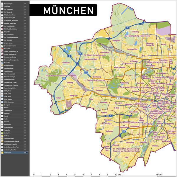 München Stadtplan Vektor Stadtbezirke Stadtteile Topographie