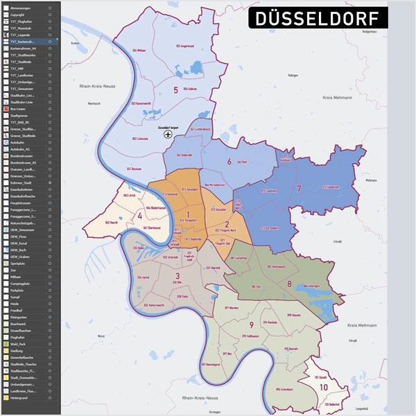 düsseldorf stadtteile karte Düsseldorf Stadtplan Vektor Stadtbezirke Stadtteile Topographie