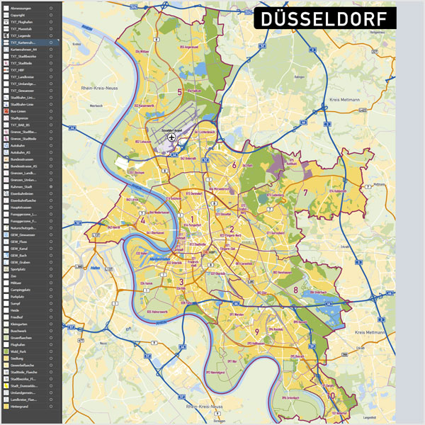 Düsseldorf Stadtplan Vektor Stadtbezirke Stadtteile Topographie