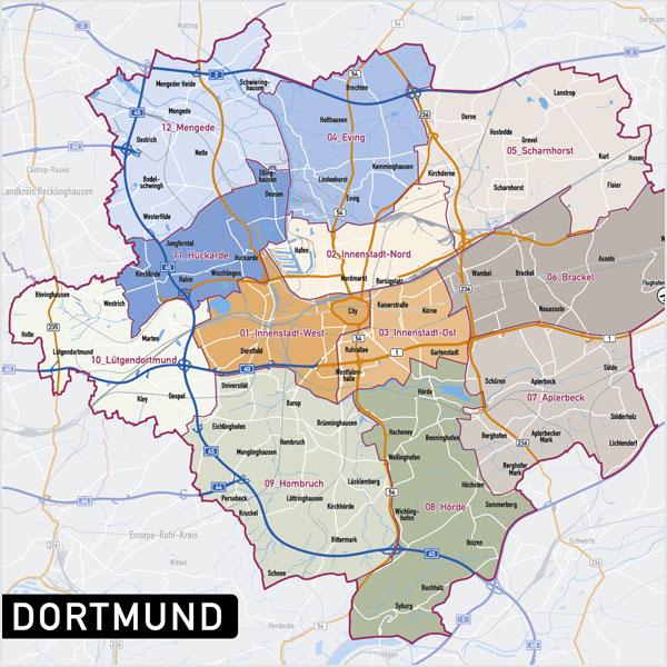 Dortmund Stadtplan Vektor Stadtbezirke Topographie