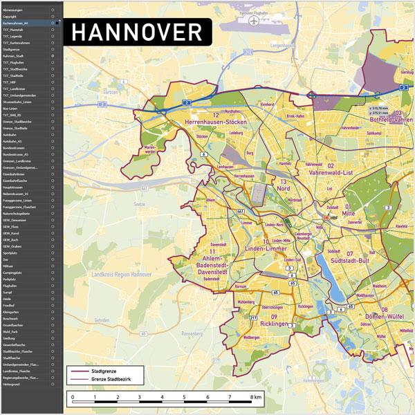 Hannover Stadtplan Vektor Stadtbezirke Topographie