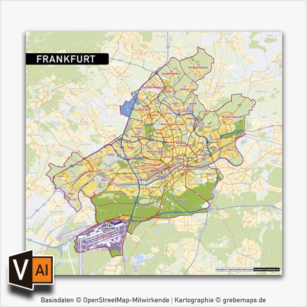 Frankfurt Am Main Stadtplan Vektor Stadtbezirke Stadtteile Topographie