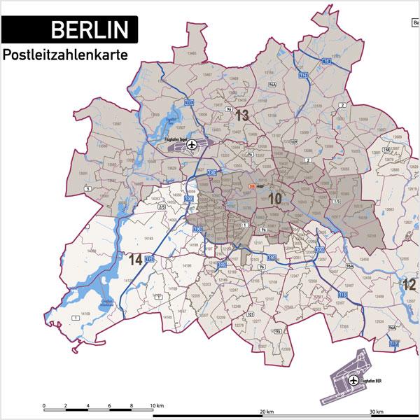 Berlin Stadtplan Postleitzahlen PLZ-5 Topographie Stadtbezirke Stadtteile