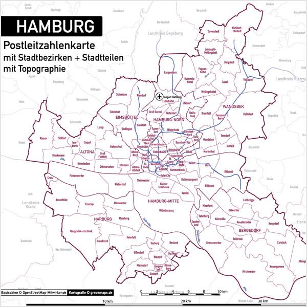 hamburg stadtplan postleitzahlen plz 5 topographie stadtbezirke stadtteile vektorkarte. Black Bedroom Furniture Sets. Home Design Ideas