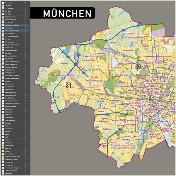 München Stadtplan Postleitzahlen PLZ-5 Topographie Stadtbezirke Stadtteile