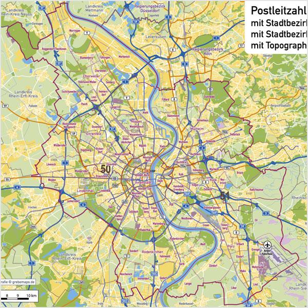 Köln Stadtplan Postleitzahlen PLZ-5 Topographie Stadtbezirke Stadtteile Vektorkarte