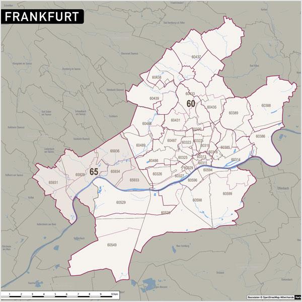 Frankfurt Stadtplan Postleitzahlen PLZ-5 Topographie Stadtbezirke Stadtteile Vektorkarte