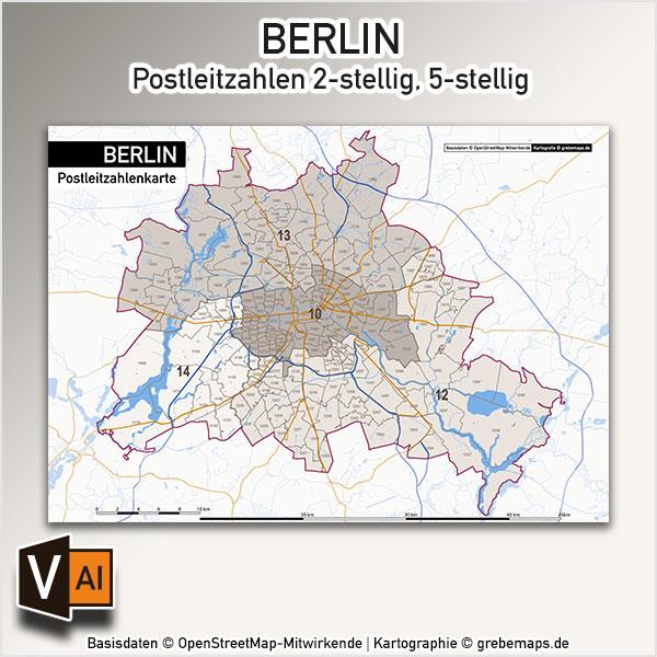 Berlin Karte Postleitzahlen PLZ-5-2 Vektorkarte
