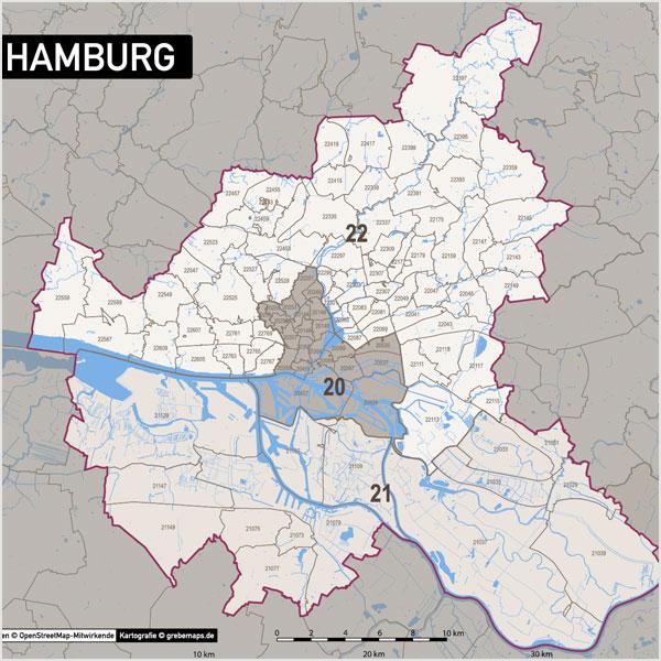 Hamburg Postleitzahlen-Karte PLZ-5 Vektorkarte
