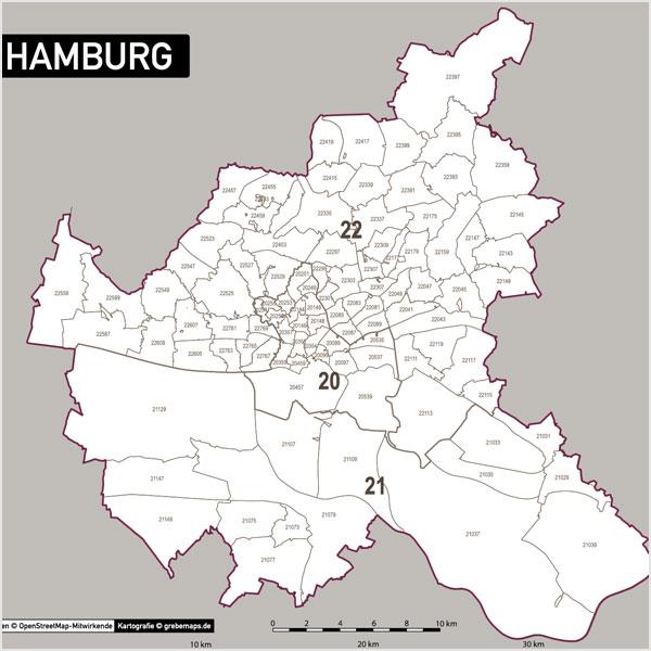 hamburg postleitzahlen karte plz 5 vektorkarte grebemaps kartographie. Black Bedroom Furniture Sets. Home Design Ideas