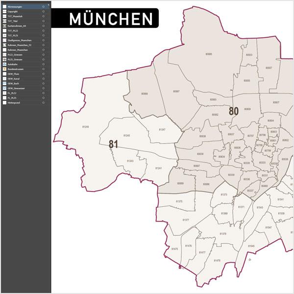 München Postleitzahlenkarte Vektor PLZ-5