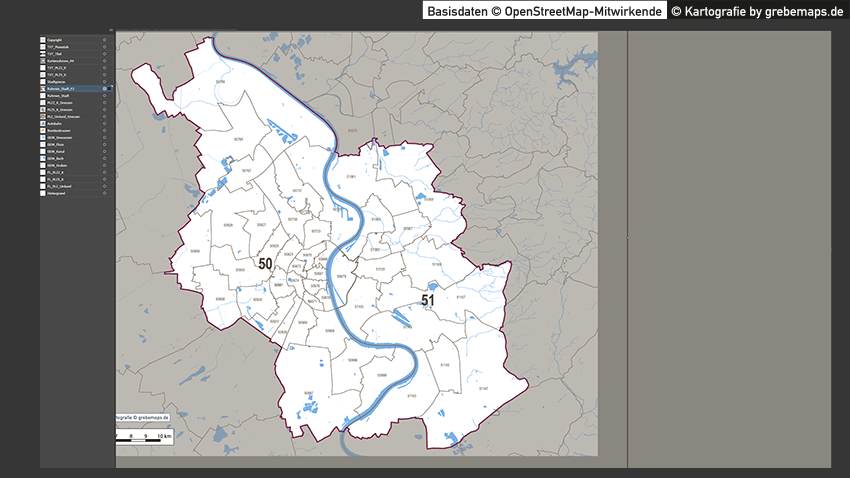 Köln Postleitzahlen-Karte PLZ-5 Vektorkarte, Karte PLZ Köln, Karte Köln PLZ Vektor, Karte Postleitzahlen Köln 5-stellig, Köln PLZ-Karte 5-stellig