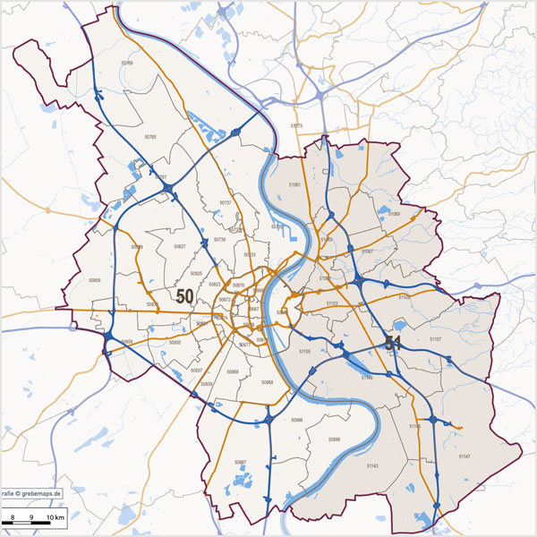 Köln Postleitzahlen-Karte PLZ-5 Vektorkarte