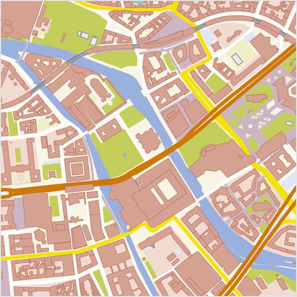 Berlin-Zentrum Stadtplan Vektor mit Gebäuden Basiskarte