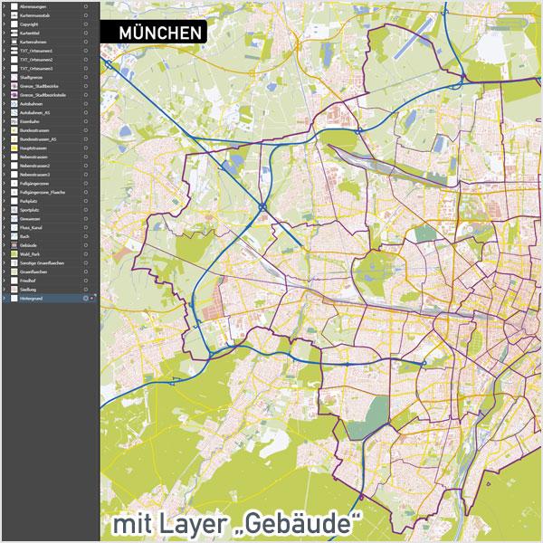 München Stadtplan Vektor Ohne / Mit Gebäuden