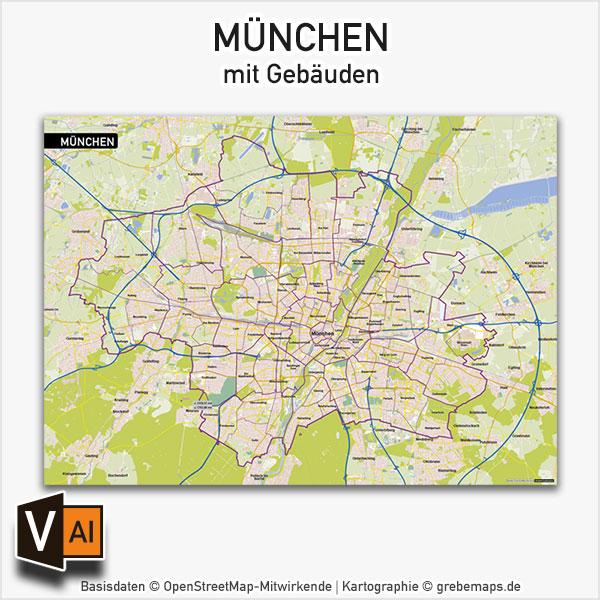 München Stadtplan Vektor Mit Gebäuden