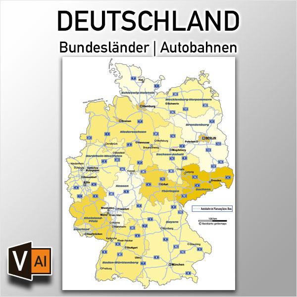 Deutschland Bundesländer Autobahnen Vektorkarte