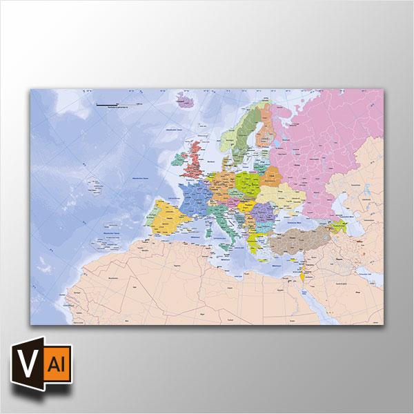 Europakarte Vektor Mit Provinzen Flächentreu *Premium*