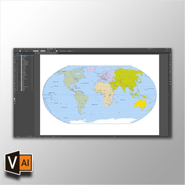Weltkarte Vektor (Robinson) *Premium*