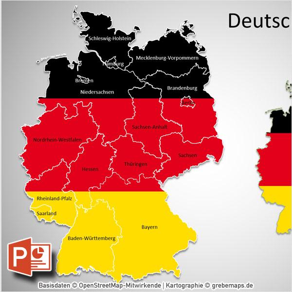 Deutschland PowerPoint-Karte Bundesländer