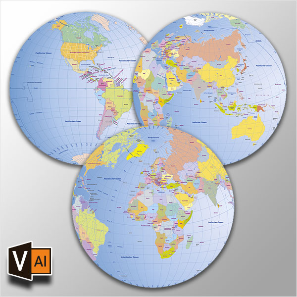 Weltkarte Globen Vektorkarten Bundle (3 Karten)