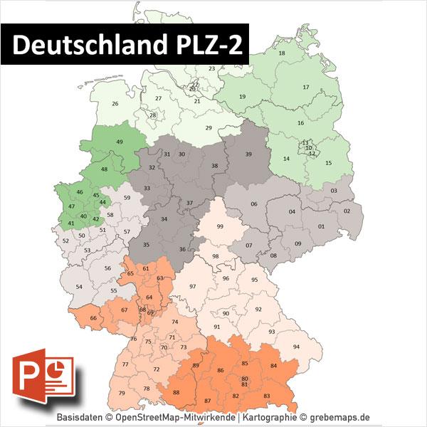 Deutschland PowerPoint-Karte Postleitzahlen PLZ-2 Mit Bitmap-Karten
