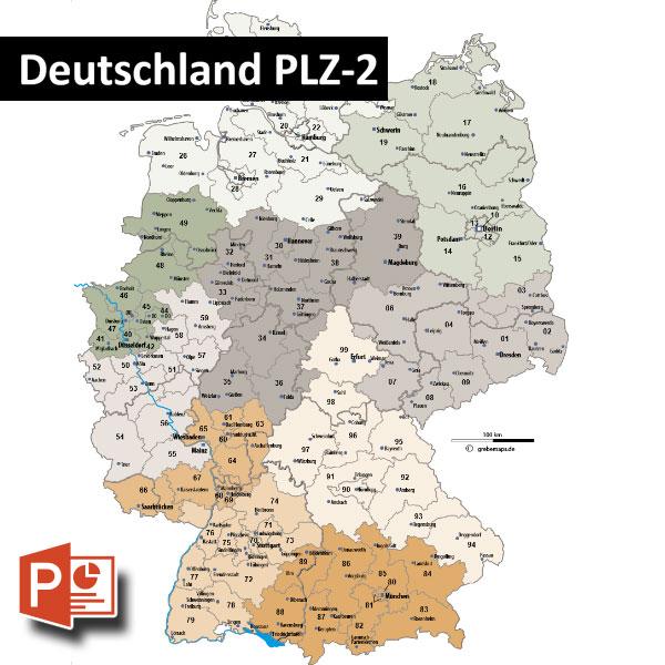 Deutschland PowerPoint-Karte Postleitzahlen PLZ-2, PLZ-Karte Deutschland PowerPoint mit Landeshauptstädte, Bundesländergrenzen ausgewählten Städten