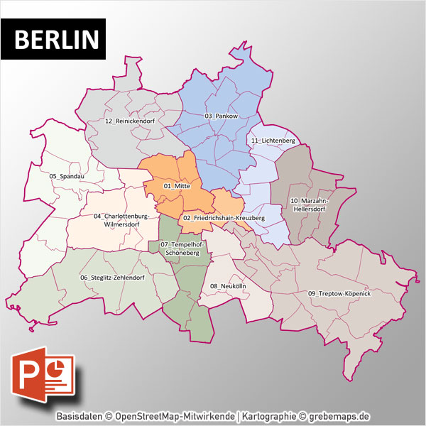 berlin powerpoint karte mit bezirken und stadtteilen mit. Black Bedroom Furniture Sets. Home Design Ideas