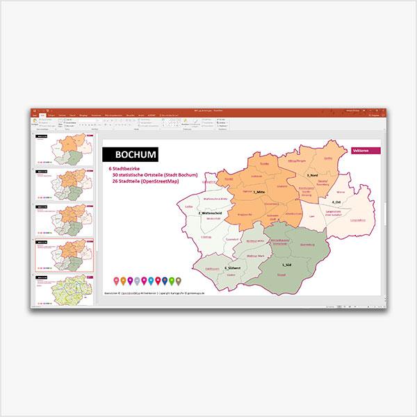 Bochum PowerPoint-Karte Mit Bezirken Und Stadtteilen
