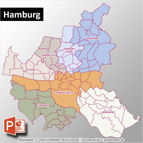Hamburg PowerPoint-Karte Mit Bezirken Und Stadtteilen Mit Bitmap-Karten