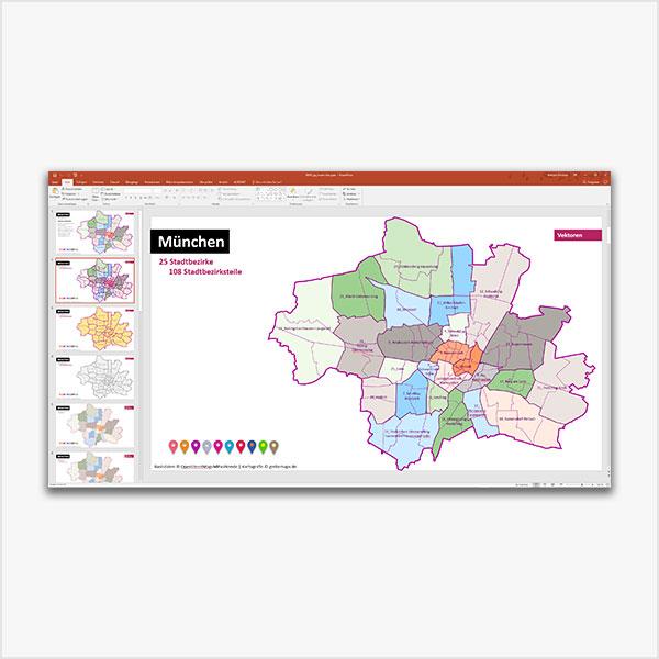 München PowerPoint-Karte Mit Bezirken Und Stadtteilen