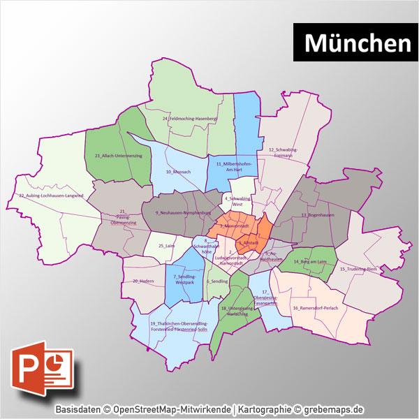 München PowerPoint-Karte Mit Bezirken Und Stadtteilen Mit Bitmap-Karten