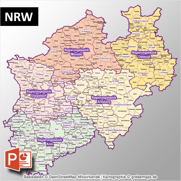 PowerPoint-Karte NRW Nordrhein-Westfalen Gemeinden Landkreise Regierungsbezirke