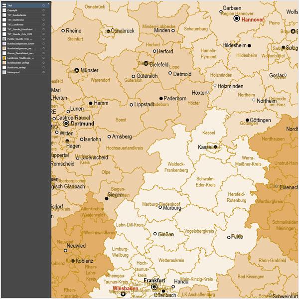 Deutschland Landkreise Stadtkreise Vektorkarte