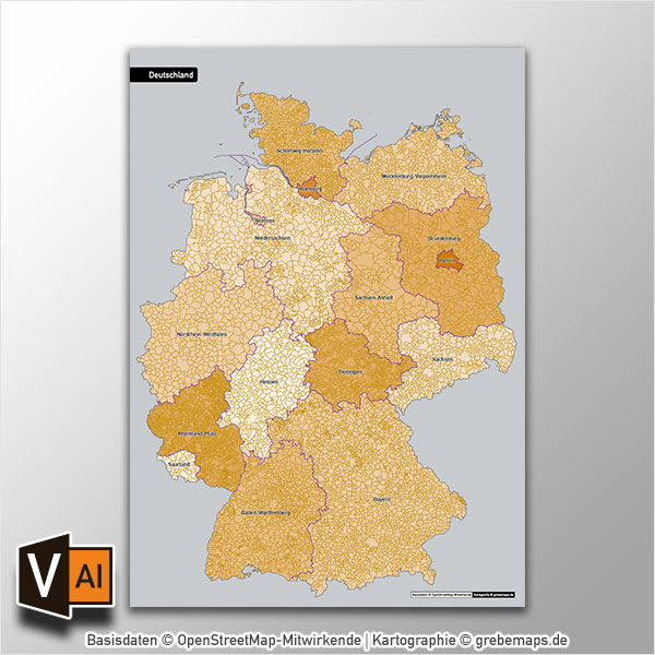 Deutschland Gemeinden Bundesländer Vektorkarte Ohne Gemeindenamen (2017)