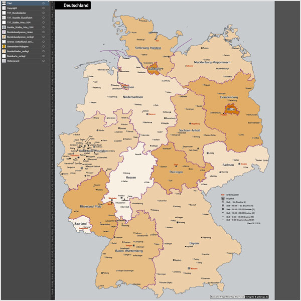 Deutschland Gemeinden Bundesländer Vektorkarte