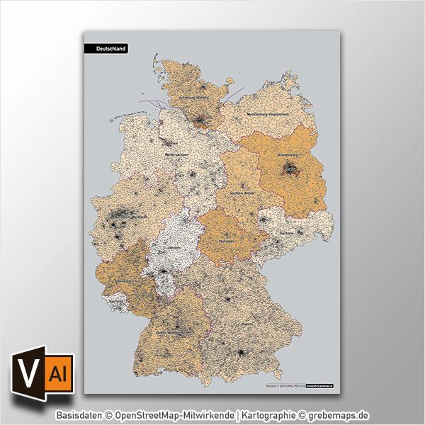 Deutschland Postleitzahlen PLZ-5 Vektorkarte 5-stellig