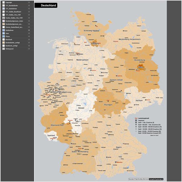 Deutschland Autobahnen Städte Gewässer Bundesländer Vektorkarte