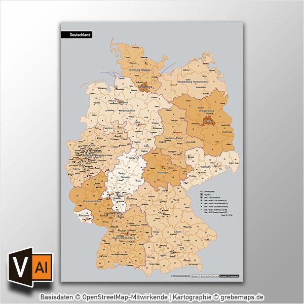 Deutschland Wahlkreise Bundestagswahl 2017 Vektorkarte