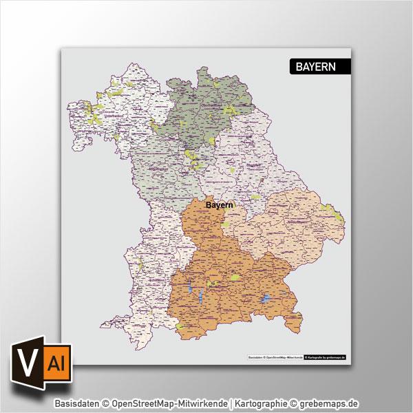 Bayern Vektorkarte Gemeinden Landkreise Regierungsbezirke (2017)