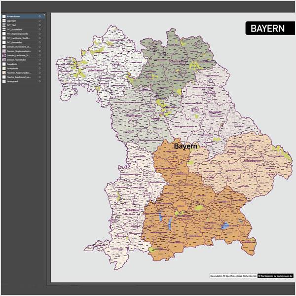 Bayern Vektorkarte Gemeinden Landkreise Regierungsbezirke