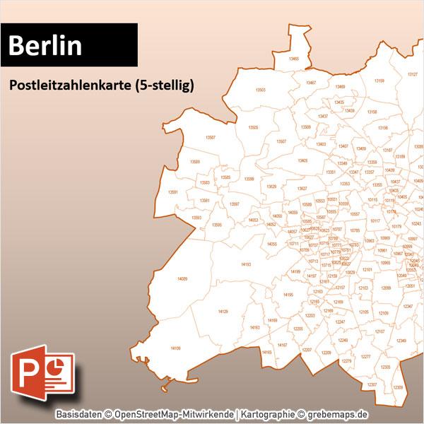 PowerPoint-Karte Berlin Postleitzahlen PLZ-5 Mit Bitmap-Karten