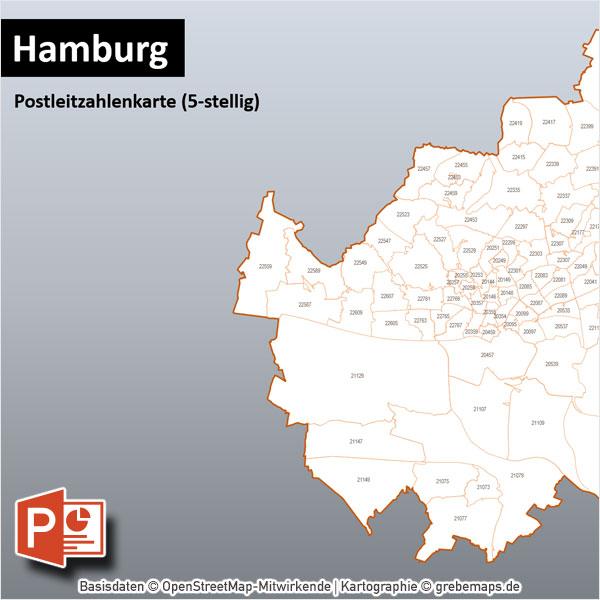 Hamburg PowerPoint-Karte Postleitzahlen PLZ-5 Mit Bitmap-Karten