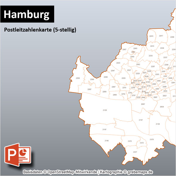 Hamburg PowerPoint-Karte Postleitzahlen PLZ-5
